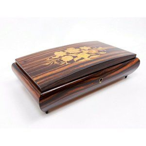 Vintage Reuge Musical Jewelry Box Wooden Swiss